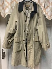 Eddie Bauer Beige Mens Trench Coat Goose Down Lined XL Tall