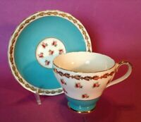 Royal Adderley Pedestal Cup And Saucer - Turquoise Blue - Pink Roses - England