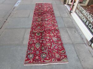 Vintage Fragment Traditional Hand Made Oriental Wool Red Runner 302x80cm
