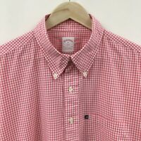 Mens XL BROOKS BROTHERS Gingham Plaid Pink Short Sleeve Shirt  40c