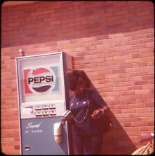 Black/African-American Woman & Pepsi-Coin Vending Machine Vtg 1973 Slide Photo
