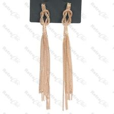 """WOVEN METAL 5.5""""very long FASHION EARRINGS knot weave FRINGE chains GOLD TONE UK"""