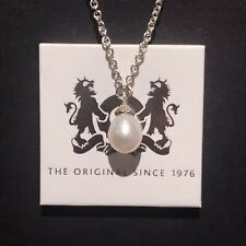 Trollbeads New Unused Silver Shiny Fantasy White Pearl Necklace 90cm