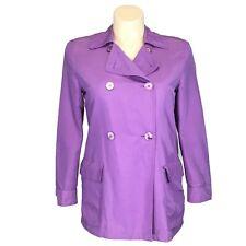 Laurel Escada 34 Med Jacket Trench Coat Purple Double Button Pocket Belt Germany