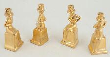 Gold Woman Top Hat Party Favor Card Invitation Holder Porcelain Japan (F1R)