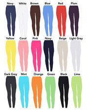 Childrens Age 2-13 Plain Full Length Leggings Girls Kids Dance -20 Colours Black