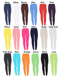 Childrens Age 2-13 Plain Full Length Leggings Girls Kids Dance -20 Colours Black