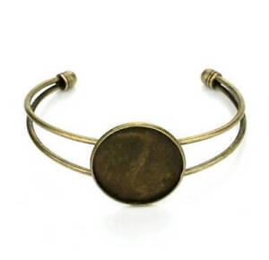 lot de 5  bracelets bronze pour support cabochon 25 mm