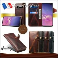 Etui Cuir Véritable coque Genuine Leather case Samsung Galaxy S10, S10+, Film