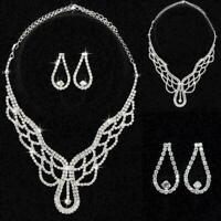 Frauen Halskette Ohrringe Strass Inlay Dekorationen Schmuck Anzug A1N4 F7F4 E1D4