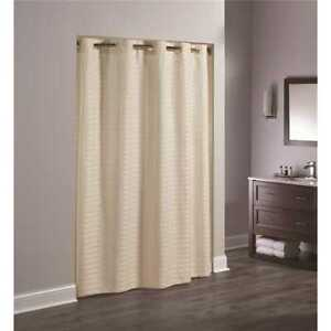 "Hookless Beige Litchfield Weave Polyester Shower Curtain 71""x74"" HBH43LIT05 bath"
