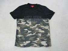 Guess Shirt Adult Extra Large Black Green Camo Camoflauge Spell Out Mens *