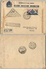 SAN MARINO-FDC 200L Giornata Filatelica Riccione-Raccomandata Pescara 25.8.1952