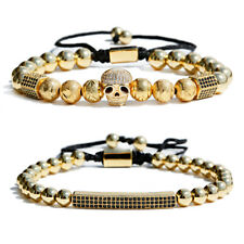 Luxury Cubic Zirconia Gold Long Strip & Skull Bead Women Men's Bracelets Jewelry