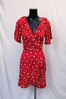 boohoo Women's Star Wrap Tea Dress SV3 Red US:10 UK:14 NWT