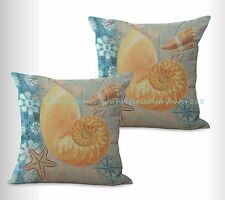 US SELLER, 2pcs couch pillow covers seashell sea star marine cushion cover