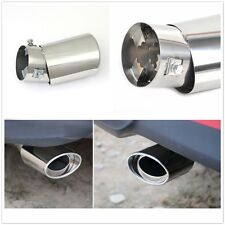 1Pcs Universal Silver Stainless Steel Chrome Exhaust Tail Muffler Tip Pipe Round