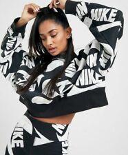 Nike NSW Sportswear Fleece Crop Top Sweatshirt NEW CJ2052 010 Black Size Large