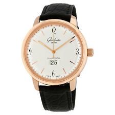Glashutte Sixties Panorama Silver Dial Automatic Mens Leather Watch