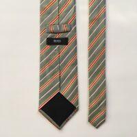Hugo boss tie blue green red stripes 100% silk made in italy necktie pa0727