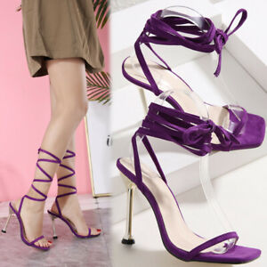 Women's Ankle Sandals Strappy High Heel Lace Up Faux Suede Tie Up Party Shoes