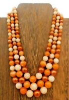 "Vintage Japan Orange Cream Mottled Multi Strand Graduating Pearl 16"" Necklace"