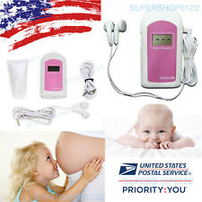 USA usps LCD ultrasonic,Baby Heart Sound Pocket Fetal Doppler+free gel+earphone