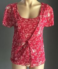 Pretty Red & White Floral DAVID LAWRENCE Cami & Cardi Combo Top Sizes 8