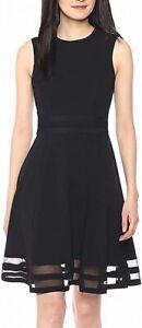 Calvin Klein Womens A-Line Dress Black Size 6P Petite Fit & Flare $89 250