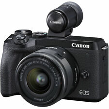 Canon EOS M6 Mark II Mirrorless Digital Camera with 15-45mm Lens, EVF-DC2, Black