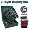 2 Layer Jewelry Box Organizer Earrings Necklace Display Storage Case With Lock