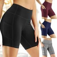Women's High Waist Yoga Shorts Pocket Pants Sports Casual Stretch Gym Fitness O7