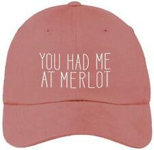 You Had Me at Merlot Funny Pink Baseball Cap Hat Adjustable Unisex Red Wine Gift