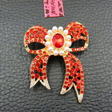 Johnson Charm Brooch Pin Gift Exquisite Red Crystal Pearl Bowknot Betsey