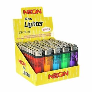 NEON Classic Full Size Flint Disposable Multi Color Lighters 50ct -Full Case