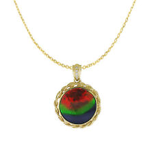 NATURAL Ammolite Diamond Necklace Pendant in 14K Yellow Gold with Certificate!!!
