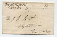 1849 Elizabeth Arkansas manuscript stampless folded letter [JP.97]