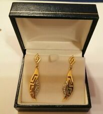 18ct white & yellow gold drop earrings with diamond detail - 6 gms