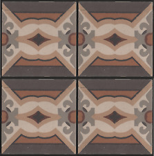 Belgian/French period Guard hall floor fireplace hearth 4 encaustic tile set