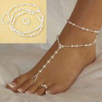 Women Pearl Barefoot Sandal Anklet Foot Chain Toe Ring Beach Ankle Bracelet Gift
