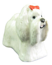 Miniature Porcelain Maltese Dog Figurine Approx 2cm HIgh (TINY) - RED RIBBON