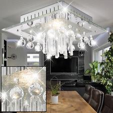 Decken Lampe Glas Platte Chrom Beleuchtung Kristall Behang Schlaf Büro Zimmer