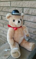 Vintage Teddy bear jointed stuffed animal w/top hat red bow classic collectible