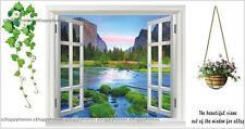 HUGE 3D Mountain River View Window Film Wall Art Sticker Mural Home Decoration