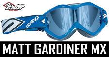 Shot Carreras Motocross Mx Gafas Azul Con Cromo Espejo Lente Gafas Enduro NUEVO