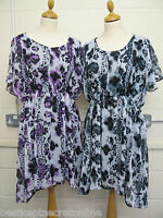 PLUS SIZE TOP CRINKLE LINED CHIFFON FLORAL PRINT ELASTICATED WAIST