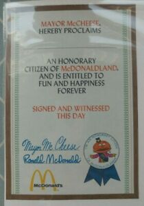 Vintage McDonald's Mayor McCheese Honorary Citizen Certificate New