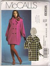 McCall's Sewing Pattern 5939, Lined Coats, Size 8 - 16, OOP, Uncut