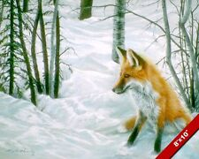 YOUNG WILD FOX IN WINTER SNOW ANIMAL PAINTING WILDERNESS ART REAL CANVAS PRINT