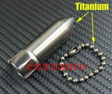 "Titanium Ti "" Rocket "" EDC Key chain Waterproof Capsule pill Bottle + ball chain"